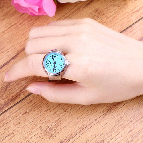 Lady Girl Creative Fashion Stainless Steel Round Elastic Quartz Finger Ring Watch
