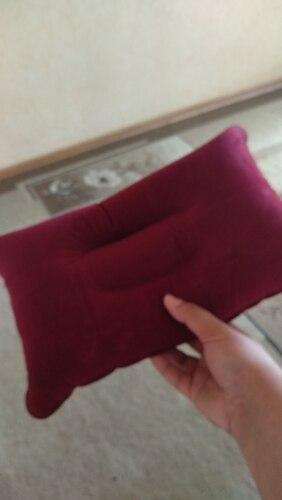 Portable Pillow Travel Air Cushion Inflatable Double Sided Flocking Cushion Camp Beach Car Plane Hotel Head Rest Bed Sleep