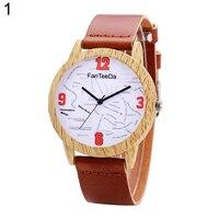 Fashion Women English Letters Round Dial Faux Leather Analog Quartz Wrist Watch
