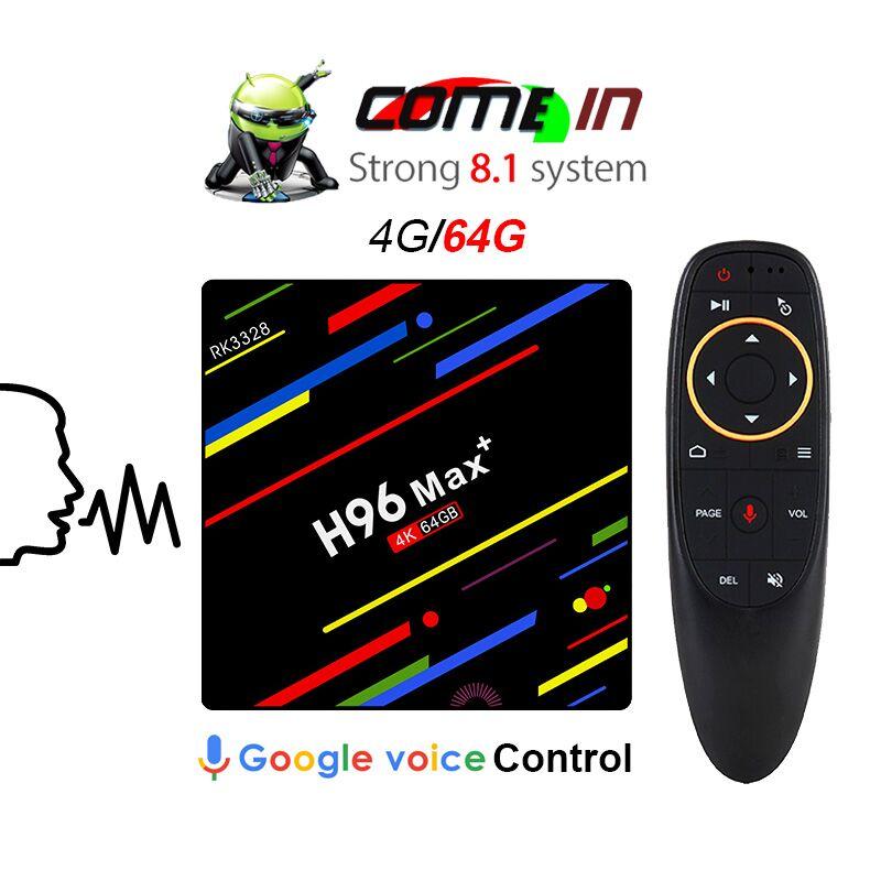 Tv box H96max + Google Voice Control Smart TV BOX Android 8.1 Amlogic RK3328 4 gb 64 gb Streaming Google jouer Netflix PK X96 mini