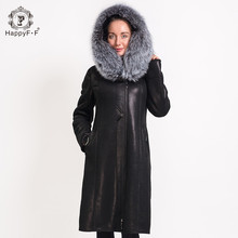 HAPPYFF Women's Long Winter Suede Fox Fur Coat Hooded Leather Jacket with Collar 021855010101