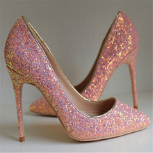 Free shipping fashion women Pumps Pink Glitter sexy lady Pointy toe high heels shoes size33-43 12cm 10cm 8cm party shoes fashion sweet women 10cm high heels pumps female sexy pointed toe black red stiletto high heels lady pink green shoes ds a0295