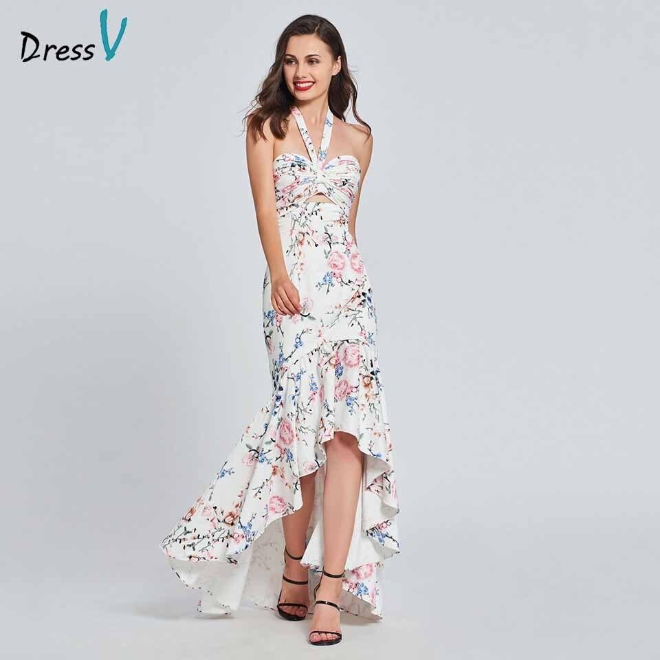 Dressv Party-Gown Backless Mermaid-Print Elegant Evening Ruffles Long Floor-Length HALTER