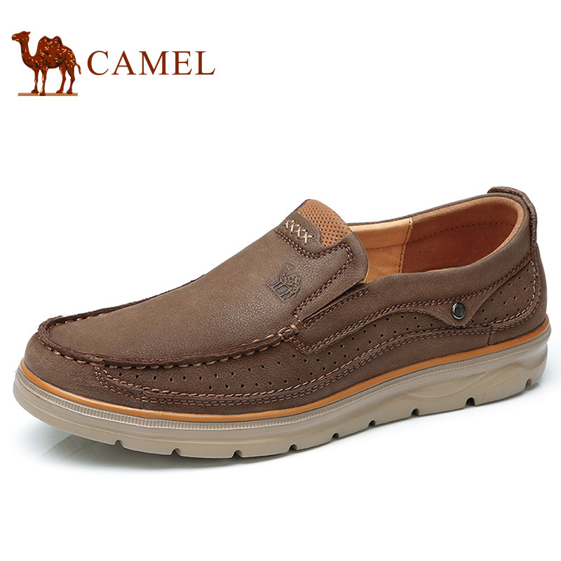 CAMEL Genuine Leather Men Casual Shoes Man Comfortable Footwear Soft Cowhide Breathable Male Flats mocassin cuir