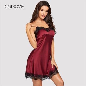 db9ea7525a66dd0 COLROVIE красный сексуальный V образным вырезом контраст кружево Cami  платье для женщин Ночная рубашка 2018 новый летний женский ночное белье