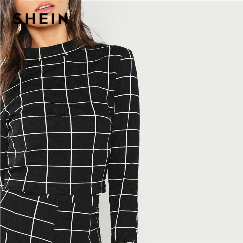 2ca79eab67 SHEIN BlackMock Neck Plaid Top & Pant Set Women Stand Collar Long Sleeve  Elegant Two Pieces Sets 2018 Spring Plain Twopiece-in Women's Sets from  Women's ...