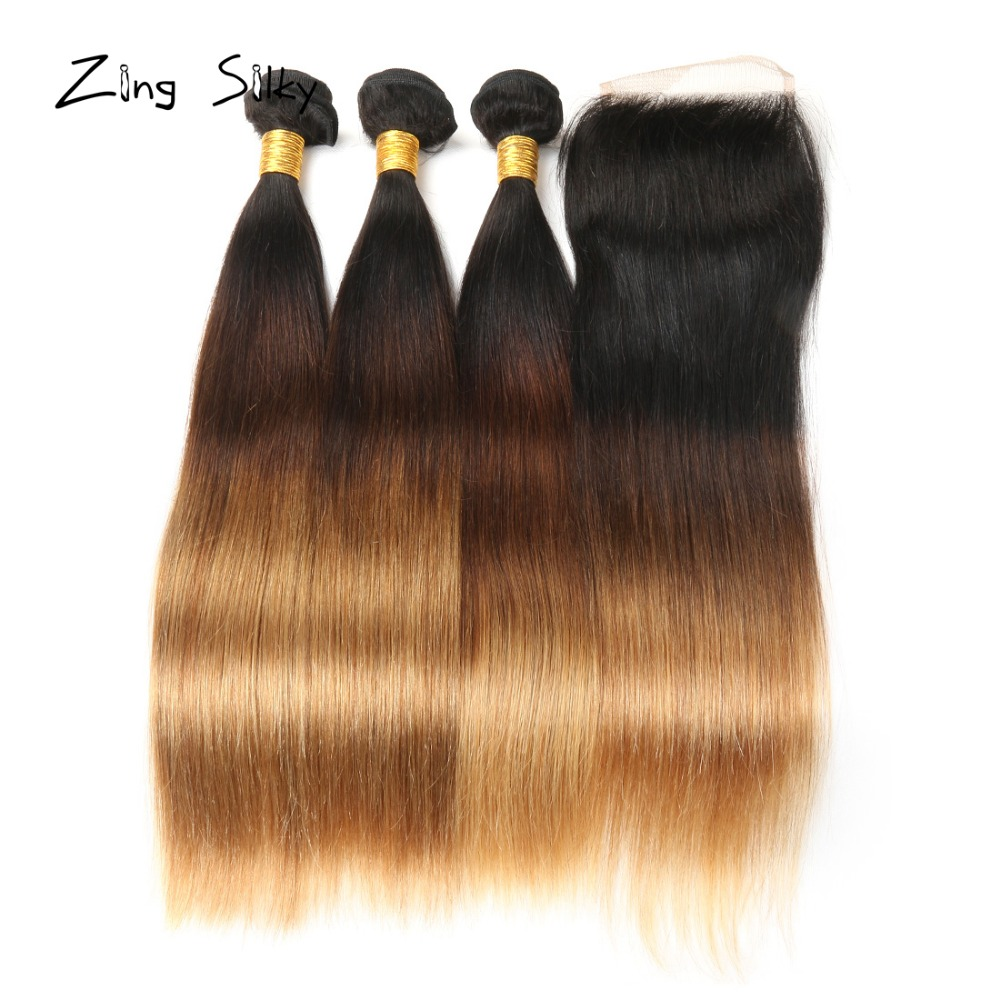Brasilian Straight Hair Weave Human Hai 3 Bundlar With Closure T1B 4 - Skönhet och hälsa