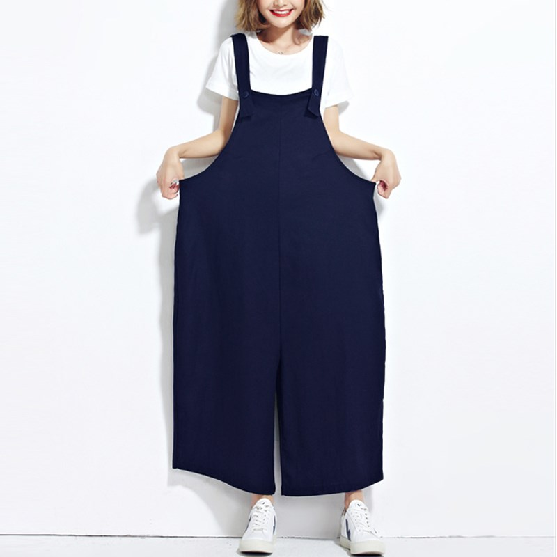 ZANZEA Women Sleeveless Dungaree Long Jumpsuits Overalls Fashion Ladies Pockets Casual Loose Harem Long Pants Trousers Plus