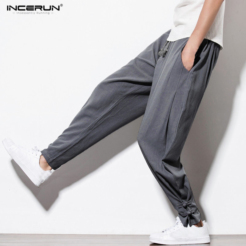 2018 INCERUN Chinese Style Full-Length Men Casual Cotton Harem Pants Men Drawstring Solid Pockets Loose Fashion Linen Pants men