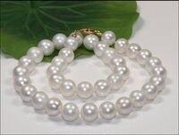 Огромные 18 11 12 мм Южное море подлинные идеально круглые AAA белые жемчужные ожерелья> Бесплатная доставка