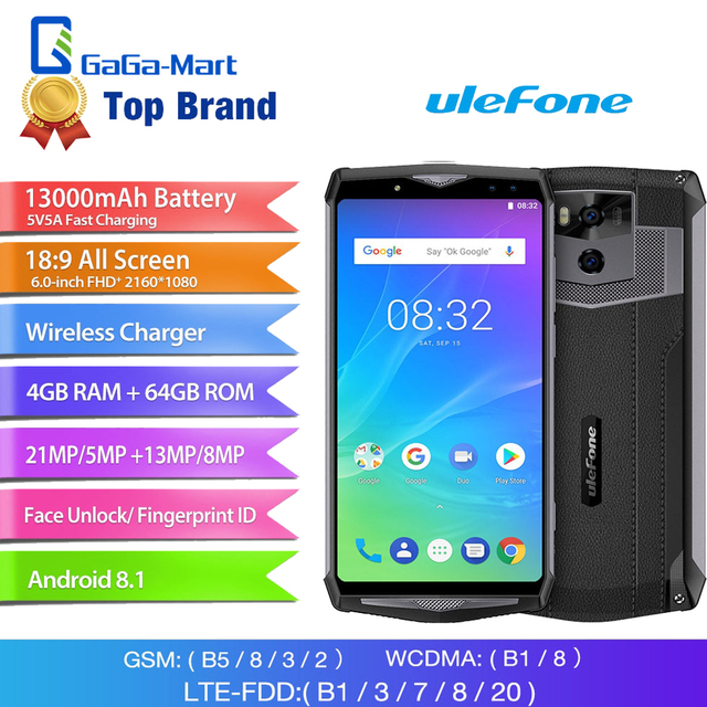 """Ulefone Power 5S 4G 13000mAh Smartphone 6.0"""" 4GB+64GB  FHD MTK6763 Octa Core Android 8.1 21MP Wireless charger Mobile Phone Face"""