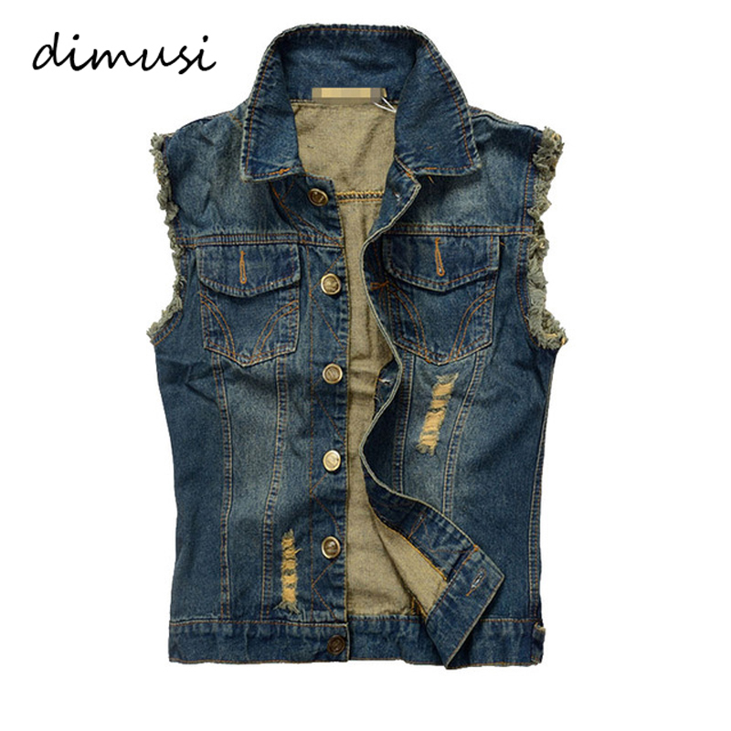 DIMUSI Summer Ripped Mens Denim Vest Male Tank Top Washed Jeans Waistcoat Man Cowboy Brand Hip Hop Sleeveless Jacket 6XL,YA564