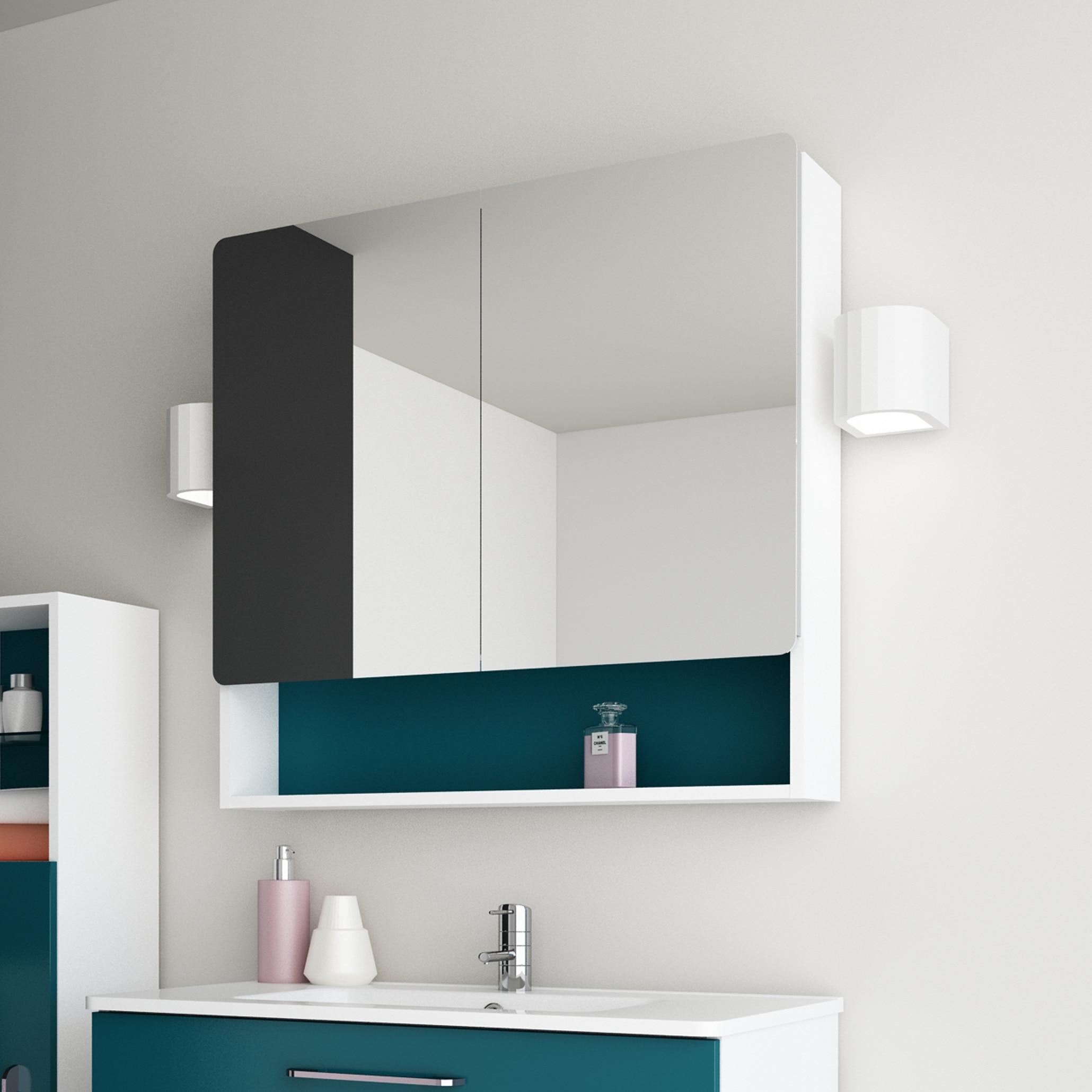 nexo armoire a pharmacie moderne miroir de salle de bain blanc vert bleu gris 32x30x7