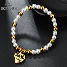 HOBBORN Cute Simulated-pearl Beaded Bracelets Stainless Steel Beads Bangles Hollow Heart Charm Bracelet Women Friendship Jewelry