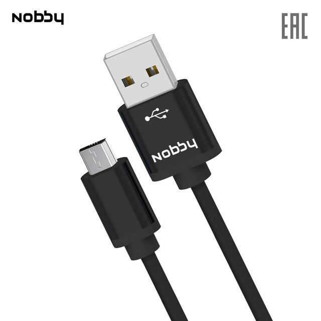 Дата-кабель Nobby Practic microUSB 2А DT-005, прочный, крепкий, удобный, для телефона, смартфона, черный/белый/голубой/розовый/зеленый/оранжевый