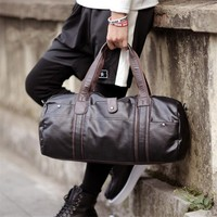 2018 Men Travel Bags Black Blue Men Tote Shoulder Travel Bag Portable Men Handbags Big Weekend Bag Women Leather Duffle Bag