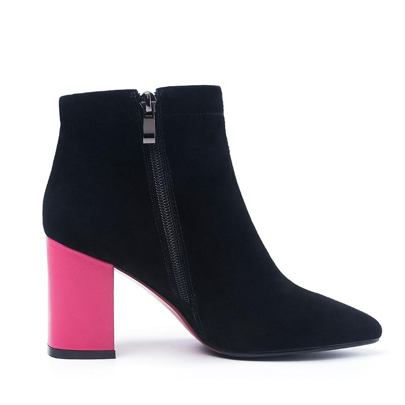 Bout Solide Fermeture Chaussures Peluche Noir D'hiver Chaud Haute Univers Éclair Bottes Dames H198 Black Talons Suede Cheville Super En Pointu Kid Femmes nYxCzv