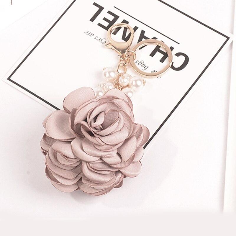 Fashion Rose Flowers Keychain Bag Pendant Car Ornaments Charm For Women Key Chain Buckle Key Ring Porte Clef EH592