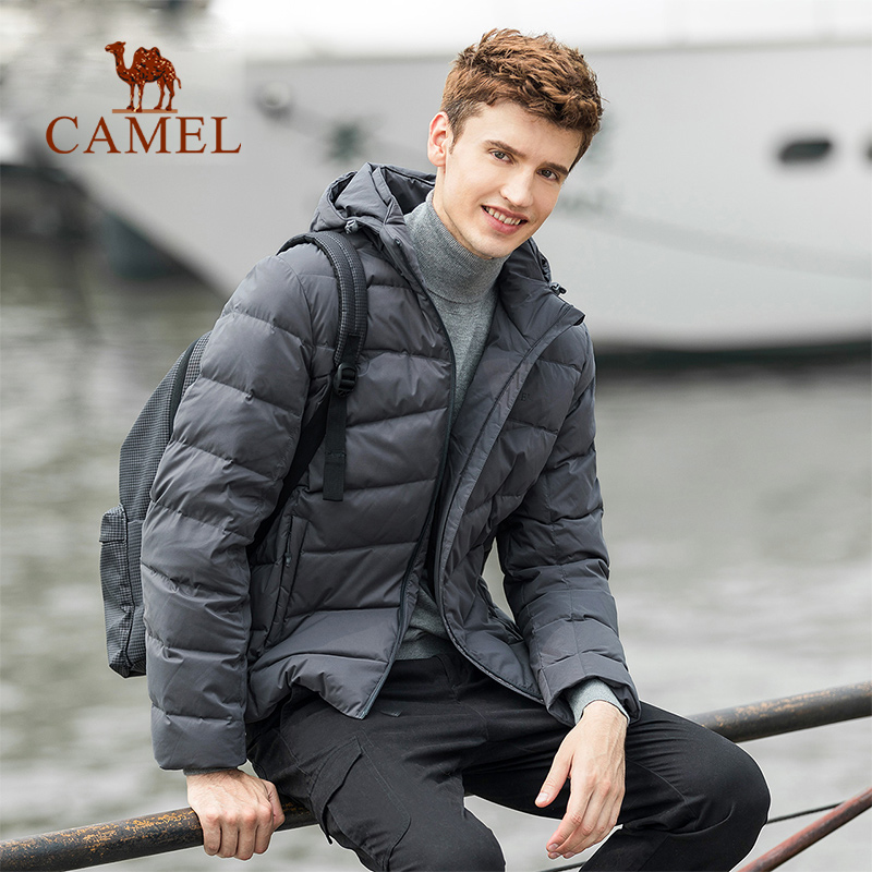 Erkek Kıyafeti'ten Şişme Ceketler'de DEVE Erkekler Kış Açık Ceket Aşağı Hafif Kapşonlu Sıcak Yumuşak Sıcak Hafif kırışıklık Karşıtı Aşağı Ceket 90% Beyaz ördek Aşağı'da  Grup 3