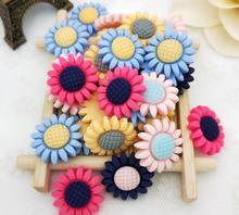 50pcs Matte Sunflower Flatback Beads For Scrapbooking Craft Diy Hair Clip Figurines Headwear Cellphone Decoration