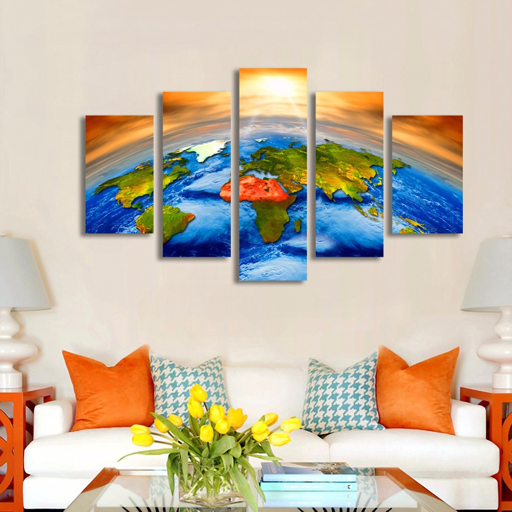 Pinturas Sobre Tela de Arte Quadro Da Parede Home Decor 5 PiecesSun Espaço Exterior Da Terra Mapa Do Mundo Pintura Sala Prints HD cartaz