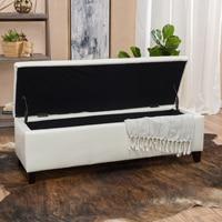 Skyler Off White Leather Storage Ottoman Bench