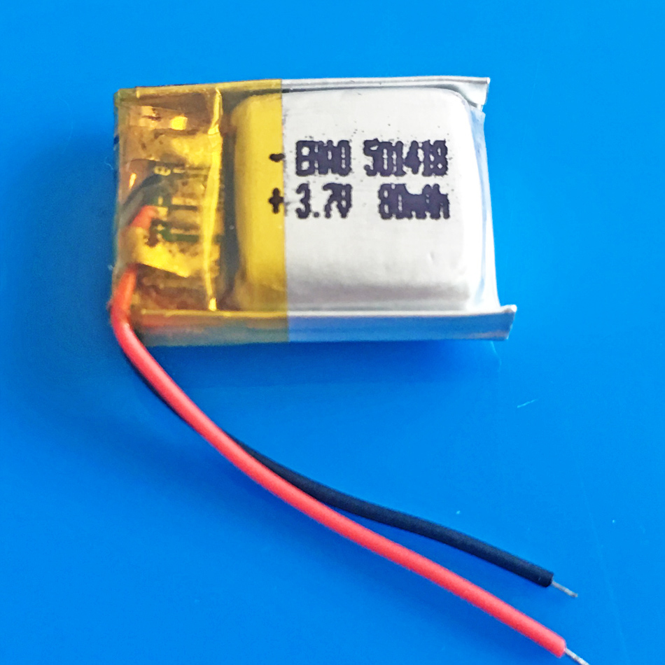 501418 3.7V <font><b>80mAh</b></font> lithium polymer <font><b>Lipo</b></font> rechargeable battery for MP3 MP4 GPS bluetooth headset video pen camera 5x14x18mm image