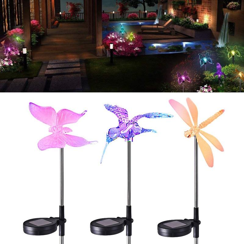 Solar Light Lamp Dragonfly/Butterfly/Bird Light Lawn Outdoor LED Waterproof Garden Solar Power Yard For Home Yard Lawn Lights