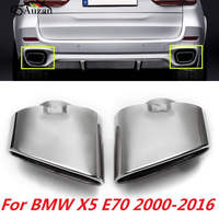 Pair Chrome Exhaust Dual Tail Pipe Muffler Tip Stainless Steel For BMW X5 E70 00 16