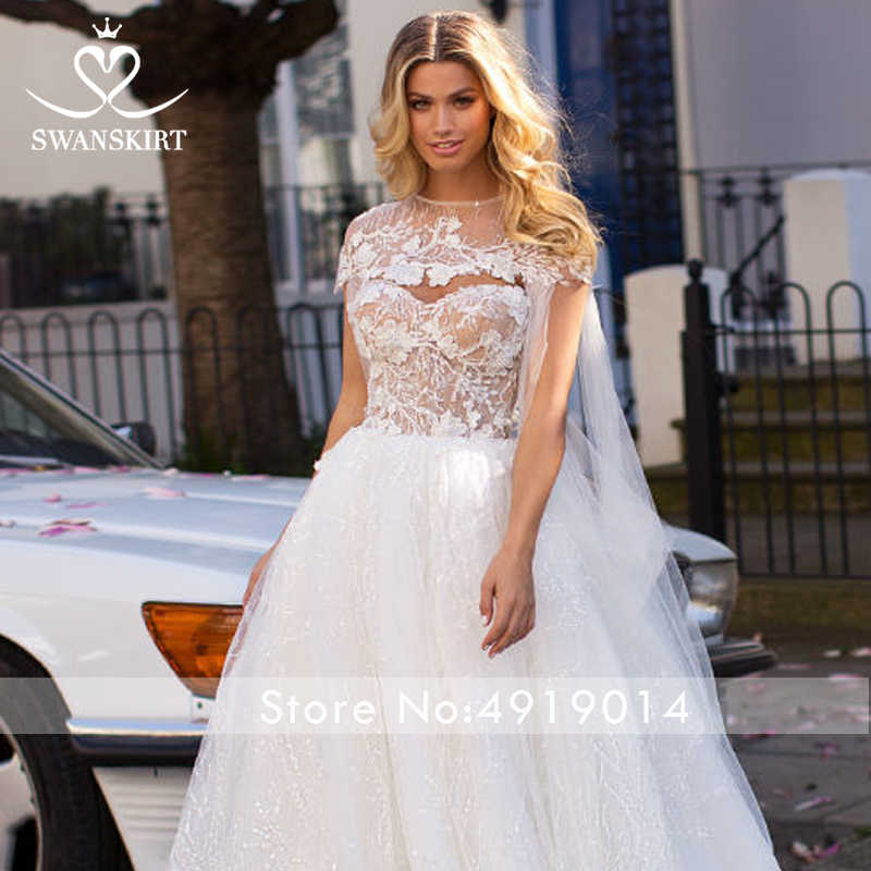 Swanskirt Stunning Tulle Wedding Dress 2019 Fairy Strapless 2 In 1 Ball Gown Princess Bride Gown Princess Customized Size I162