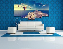 Canvas Paintings Living Room Home Decorative HD Printed 5 Pieces Fire Balloon Landscape Modular Pictures Wall Art Framework