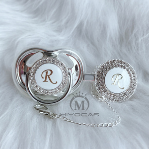 Image 3 - MIYOCAR Gold silver name Initials letter R beautiful bling pacifier and pacifier clip BPA free dummy bling unique design LR