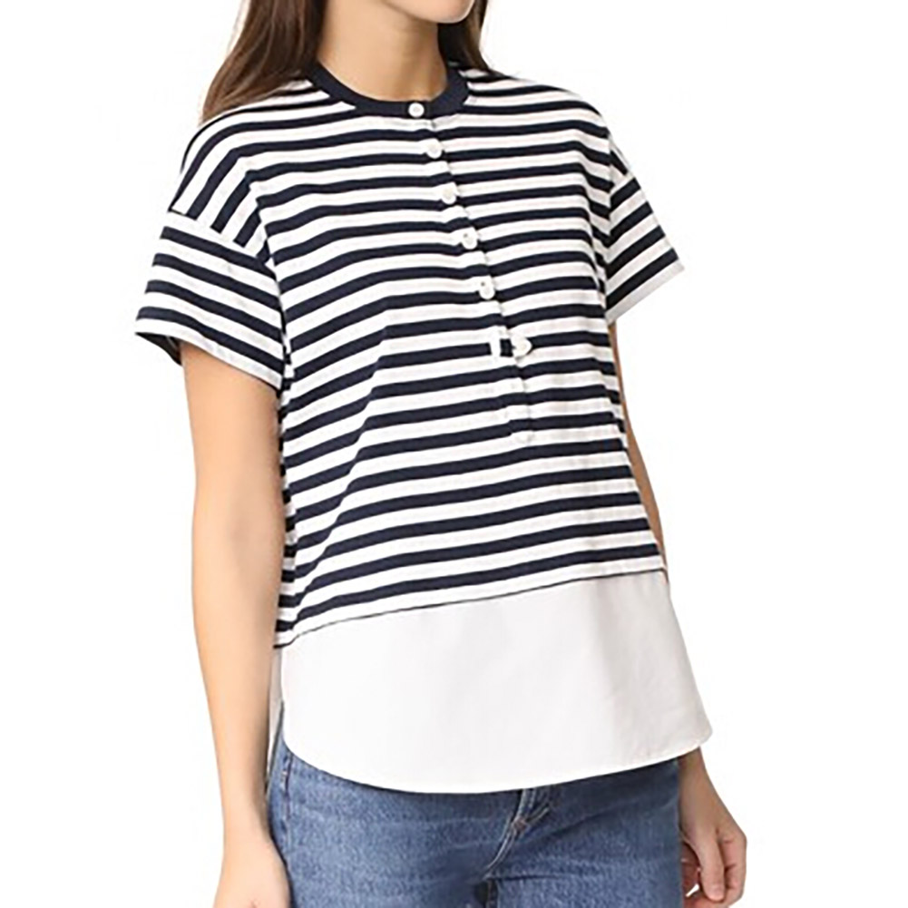 2018 New Fashion Sunmmer Style Black and White Striped Stitching Ruffles T-shirt Clothin ...