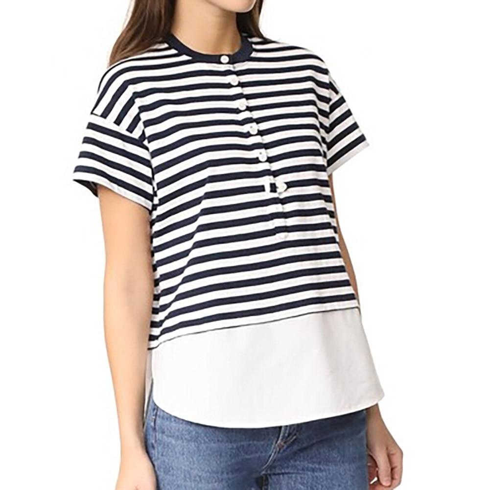 2018 New Fashion Sunmmer Style Black and White Striped Stitching Ruffles T-shirt Clothin ...