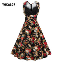 2018 Vintage Printed Floral High Waist Sleeveless Women Bodycon Casual Tank 50s Party Dress Summer Sundress