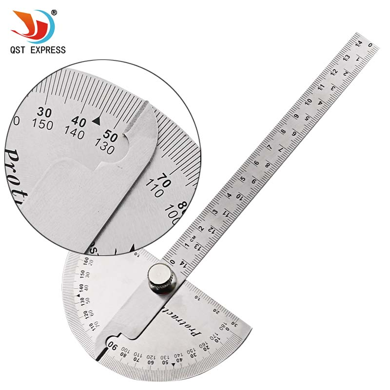 QSTEXPRESS 14cm multifunction stainless steel roundhead angle ruler mathematics measuring tool 300mm multifunctional combination square ruler stainless steel horizontal removable square ruler angle square tools metal ruler
