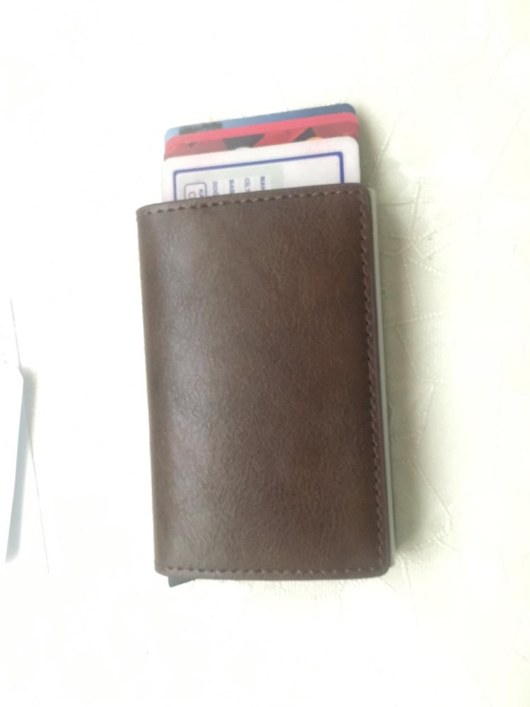 Antitheft Men Vintage Credit Card Holder RFID Automatic Elastic Aluminum Pu Card Package Men Card Holder Rifd Wallet Card Case photo review