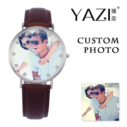 YAZI Private Custom photo Quartz Watch Brand Your Own Photo Wrist Watch Unique Design Genuine Leather Band Waterproof Watches