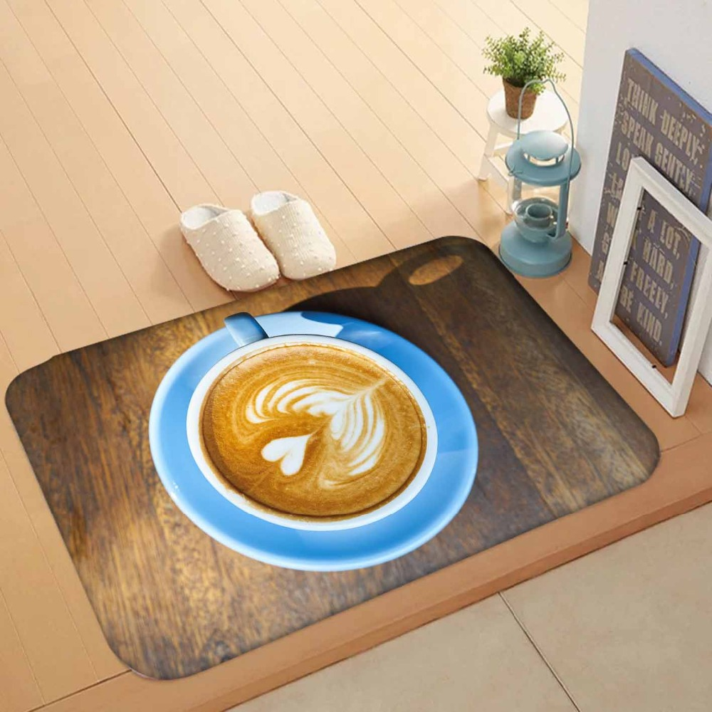 Else Brown Wooden Blue Cup Of Coffee White Hearts 3d Pattern Print Anti Slip Washable Doormat Home Decor Entryway Kitchen Mat