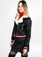Faux leather white fur cuff red white stripe jacket