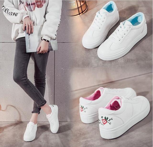 f3715777e77d3 Woman 2018 white women s shoes casual shoes Style Embroider Lace Up Casual  Pointed Flat Non Slip Office Lady Soft Fashion Shoes