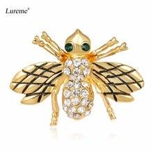 Lureme Золотая брошь в виде насекомого шмеля меда пчелы булавки