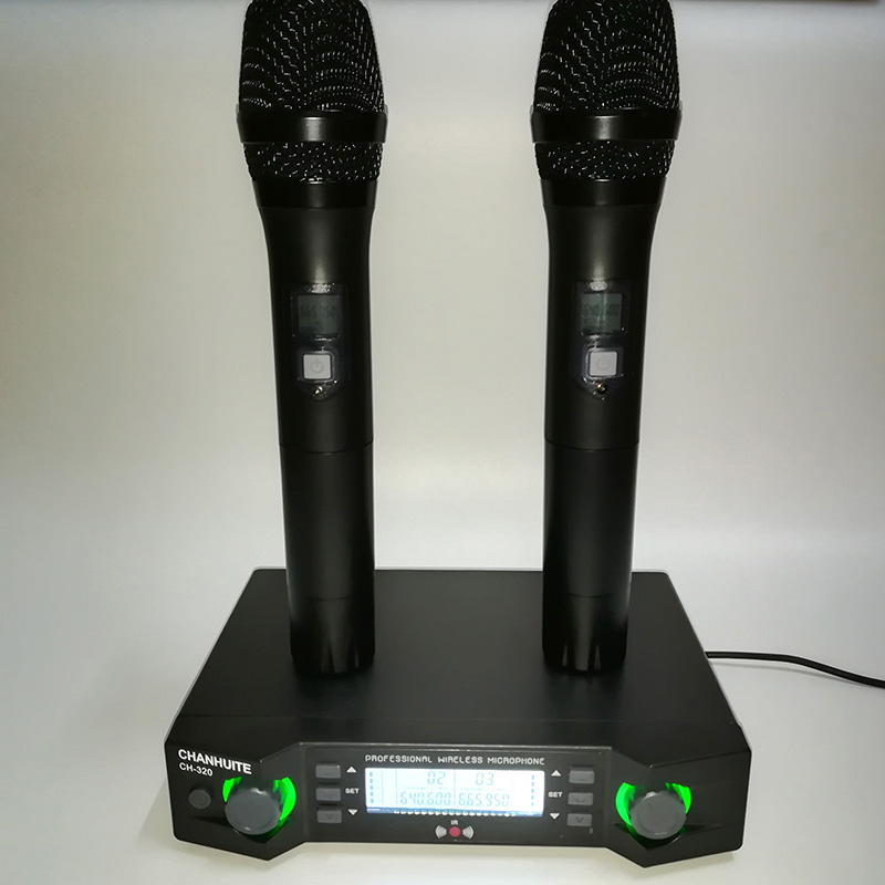 UHF dual Channels Wireless Microphone System Micro Mic Portable Microphone with Transmitter Receiver for Teaching Conference anders portable professional wireless tour guide system for simultaneous large meeting 1 transmitter 10 receiver f4508a