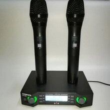 Sistema de Microfone Sem Fio UHF dois Canais Micro Portátil Mic Microfone com Transmissor Receptor para Conferência de Ensino