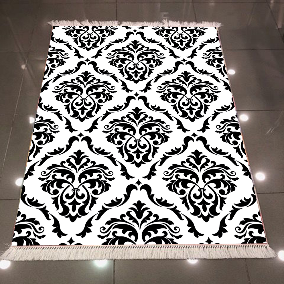 Else Black White Damask Ethnic Vintage 3d Pattern Print Microfiber Anti Slip Back Washable Decorative Kilim Area Rug Carpet
