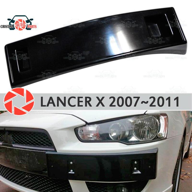 Podium de cadre de plaque d'immatriculation pour Mitsubishi Lancer X 2007 ~ 2011 sur pare-chocs avant ABS kit de carrosserie en plastique décoration de voiture