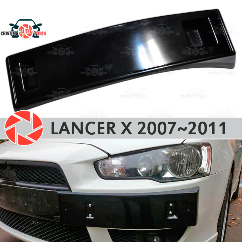 Podium of license plate frame for Mitsubishi Lancer X 2007~2011 on front bumper ABS plastic body kit decoration car styling fit for honda vfr1200f 2010 2011 2012 2013 injection abs plastic motorcycle fairing kit bodywork vfr 1200f 10 13 free shipping06
