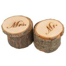 2pcs Wooden Printed Mr & Mrs Shabby Chic Rustic Wedding Ring Pillow Bearer Box Event Party Wedding Decoration(China)