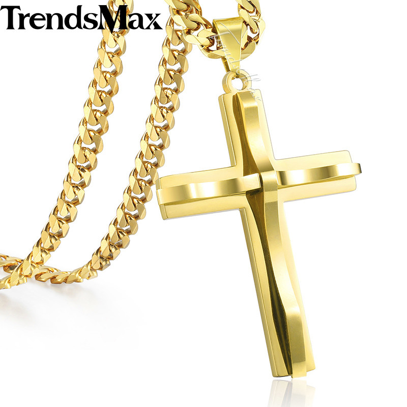 Trendsmax Cross Pendant Necklace Mens Chain Stainless Steel Curb Cuban Link Black Gold Silver Color Gift Jewelry KKPM137