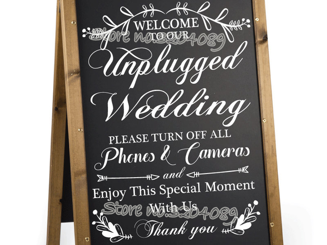 Welcome To Our Unplugged Wedding Ceremony Board Sticker Unplugged No